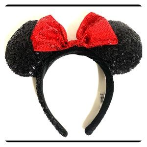 Disney Sequined Mini Mouse Ears Bundle Red Silver